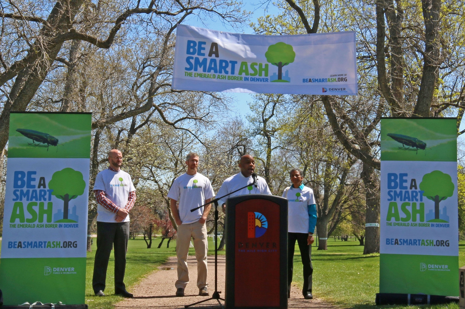 "Mayor Michael B. Hancock urges Denver residents to ""Be A Smart Ash"" and join the city in saving Denver's ash tree population from Emerald Ash Borer infestation."