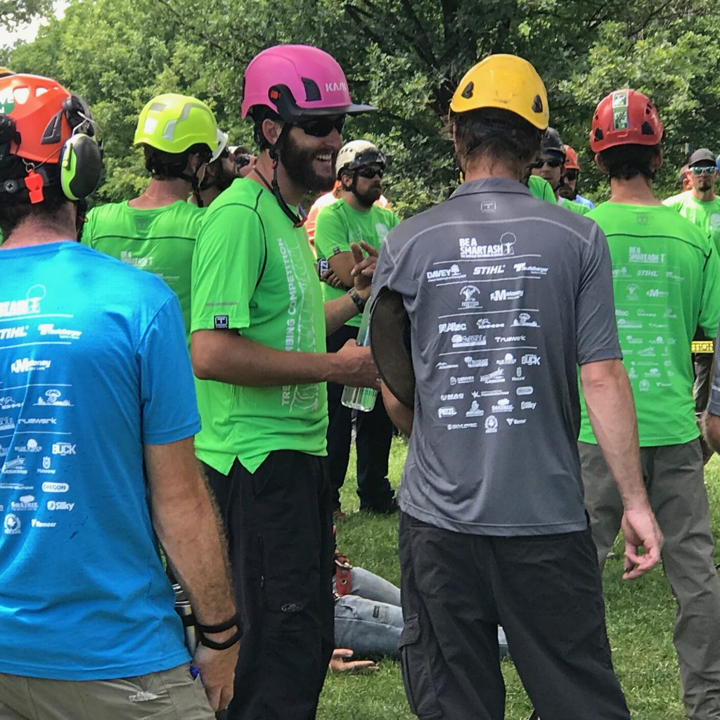 Wearing Be A Smart Ash Shirts, Arborists Gather In Denver's Washington Park For The 2017 International Society Of Arboriculture's Rocky Mountain Chapter Tree Climbing Competition.