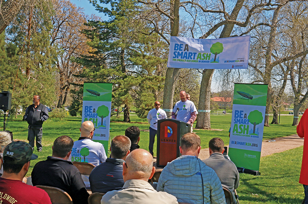 Denver Councilman Jolon Clark Speaks At The Kickoff Of The Be A Smart Ash Campaign In March 2016. The Campaign Was Designed To Raise Awareness About The Emerald Ash Borer Among Denver, Colo. Residents.